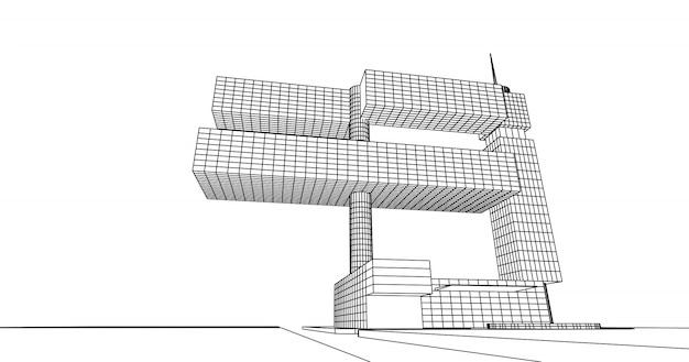 3d-illustration des perspektivischen umrissarchitekturgebäudes, abstraktes design der modernen stadtarchitektur