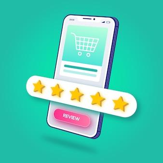3d-illustration e-commerce online-shopping produktbewertung bewertung mobile anwendung