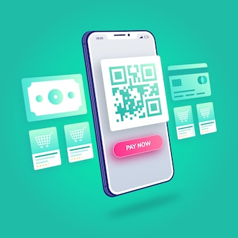 3d-illustration e-commerce online-shopping qr-code-zahlung mobile anwendung