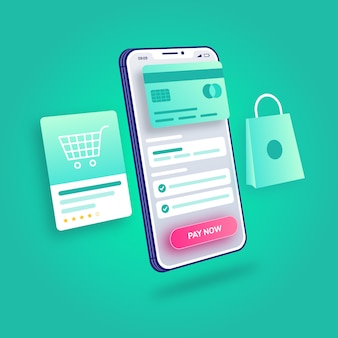 3d-illustration e-commerce online-shopping-zahlungsprozess mobile anwendung
