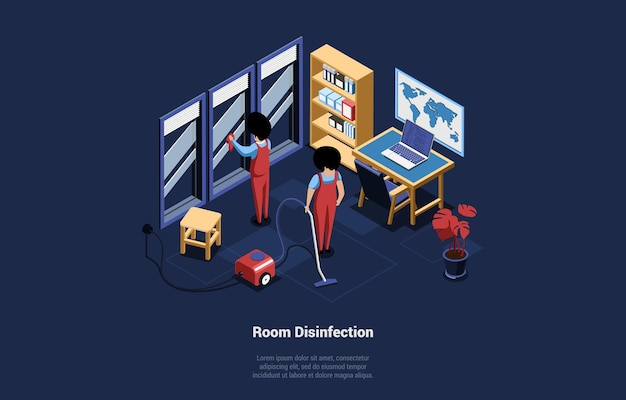 3d-illustration mit raumdesinfektionsschrift auf dunkelblau