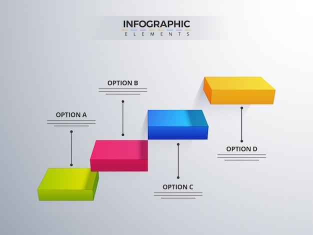 3d-infografik-element oder diagramm mit vier (4) schritten.