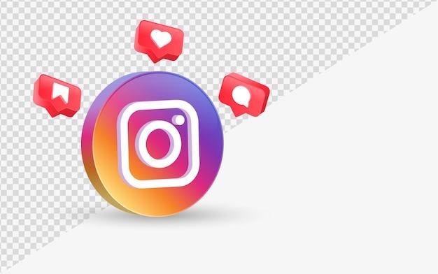 3d-instagram-logo in modernem mit social-media-benachrichtigungssymbolen wie kommentar in sprechblase speichern