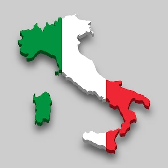 3d isometrische karte von italien mit nationalflagge.