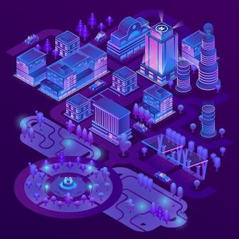 3d isometrische megapolis, stadt mit park in den purpurroten farben. sammlung von wolkenkratzern, gebäuden