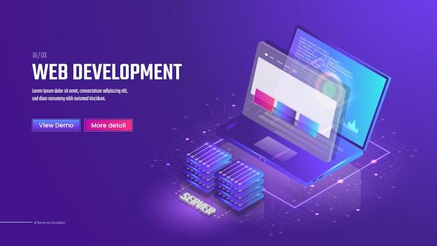 3d isometrische ui-webentwicklungsvorlage