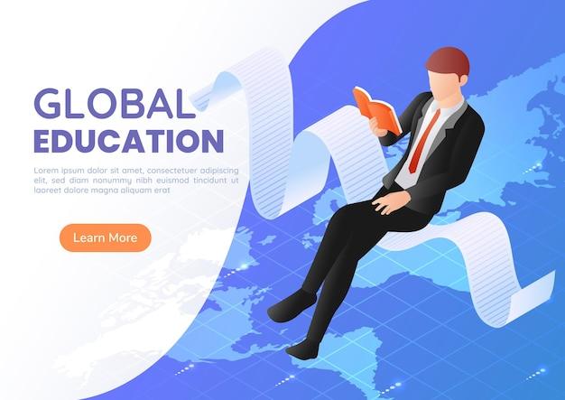 3d-isometrische web-banner-geschäftsmann sitzt lesebuch über der weltkarte. internationales und globales wirtschaftsbildungskonzept.