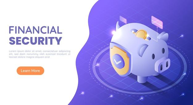 3d isometrische web-banner-sparschwein voller geld mit einem schild auf blauem hintergrund mit farbverlauf. finanzielle sicherheit und geldschutzkonzept.