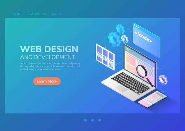 3d isometrische web-banner-website-entwicklung und anwendungsschnittstellendesign auf laptop. konzept für webentwicklung und anwendungsdesign.