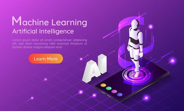 3d isometrischer webbanner persönlicher assistent ai-roboter auf dem smartphone. zielseite für das konzept der künstlichen intelligenz und des maschinellen lernens.