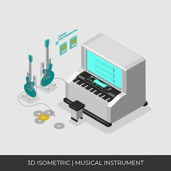 3d isometrisches musikinstrumentenset