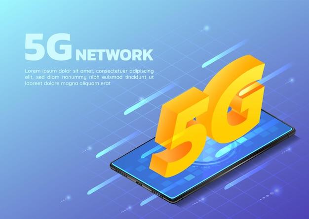 3d-isometrisches web-banner-smartphone mit 5g-hi-speed-internet-netzwerk. 5g-netzwerk-wireless-technologie-konzept.