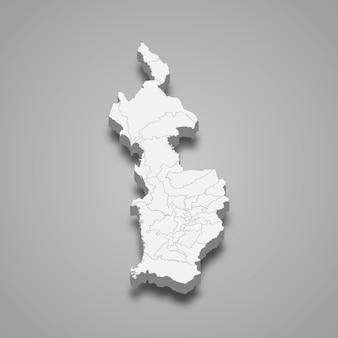 3d-karte der illustration der choco-abteilung von kolumbien
