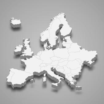 3d-karte von europa