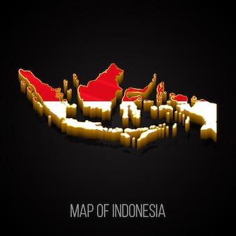 3d-karte von indonesien