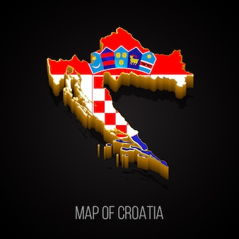 3d-karte von kroatien