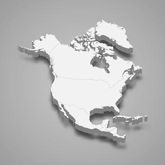 3d-karte von nordamerika
