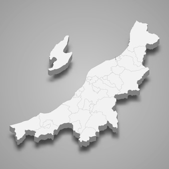 3d-kartenpräfektur von japan