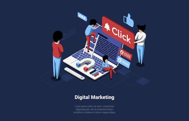 3d-komposition im cartoon-stil. digitales marketing, geschäftsanalyse