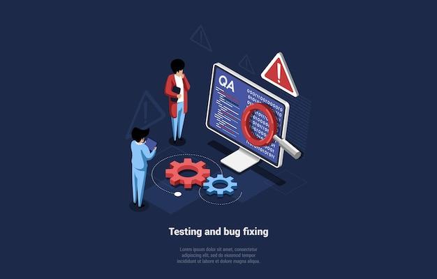 3d-komposition im isometrischen cartoon-stil der anwendung oder website-tests und fehlerbehebung