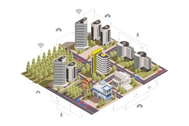 3d-konzept der modernen smart city mit wolkenkratzern öffentlichen plätzen straßen autos parken isometrische illustration