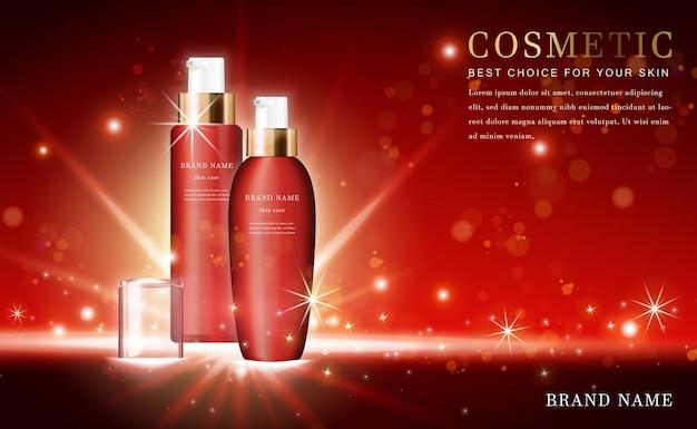 3d kosmetische produktessenzflaschen mit glänzendem rot