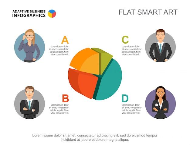 3d kreisdiagramm. infografik mit vier segmenten, editierbare vorlage.