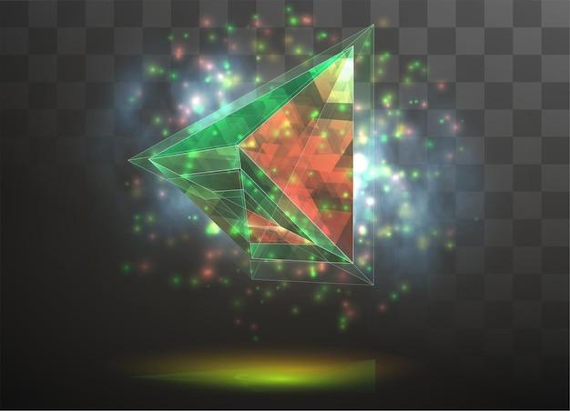 3d-kristall auf einem transparenten austauschbaren hintergrund. energie und magie.