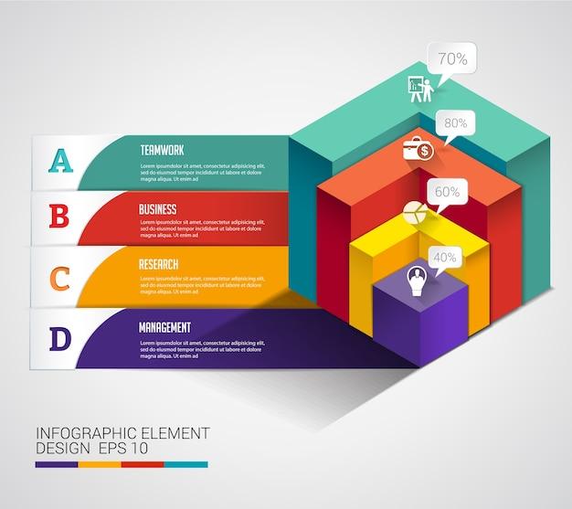 3d kubisches modernes diagrammgeschäft infographic.
