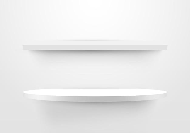 3d leeres weißes regal