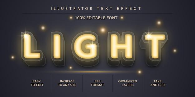 3d-licht leuchten textstil, schrifteffekt