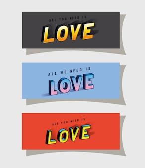 3d liebesbeschriftung gesetzt auf grauem blauem und rotem hintergrunddesign, typografie-retro- und comic-thema