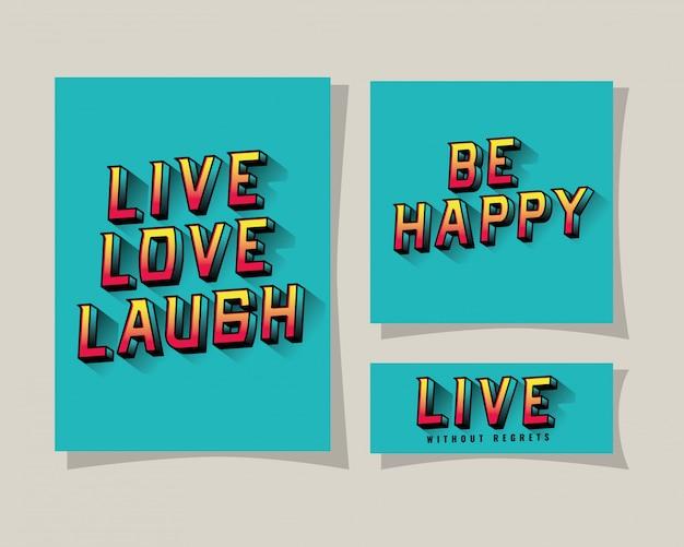 3d live love lachen sei glücklich und live-schriftzug auf blauem hintergrund