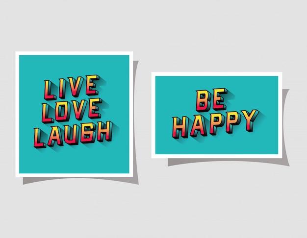 3d live love lachen und glücklich schriftzug auf blauen hintergründen