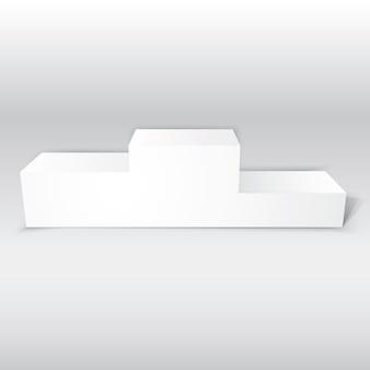 3d lokalisierte realistisches leeres weißes podium für sieger lokalisierte vektorillustration für ihr design oder projekt