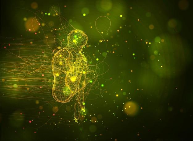 3d-mädchen aus punkten und splines, zwischen welligen fäden und kreisen auf gelbgrünem hintergrund