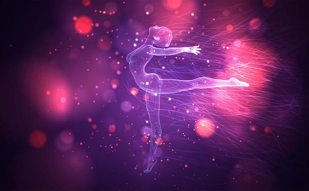 3d-mädchen aus punkten und splines, zwischen welligen fäden und kreisen auf neonviolettem und rosa hintergrund