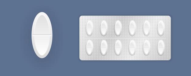 3d-medizinverpackung: schmerzmittel, antibiotika, vitamine und aspirin-tabletten. satz tablette in der verpackung. medizin pillen- und kapselpackungen, weiße 3d-medikamente und vitamine.