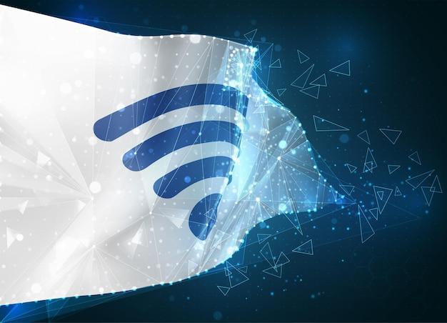 3d-mesh-flagge der wi-fi-welle, virtuelles abstraktes 3d-objekt aus dreieckigen polygonen auf blauem hintergrund