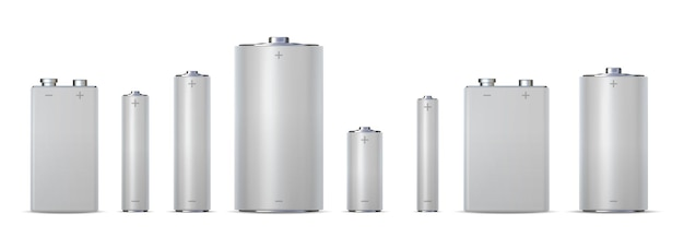 3d metallische elektrische zylinderbatterien, aa, aaa und aaaa. alkalische chemische ladezelle 9v, dc. realistisches power-batterie-mockup-vektorset