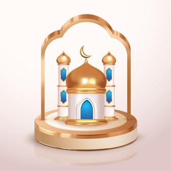 3d miniatur blau goldene moschee islamischer ramadan ein ied mubarak dekorationselement