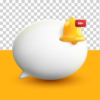 3d minimale weiße chat-blasen-benachrichtigung auf gelbem transparentem hintergrund