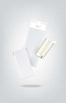 3d mock herauf realistische milchkarton-packungs-box und trinkglas