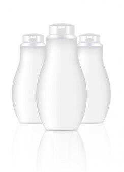 3D Mock herauf realistische weiße kosmetische Flaschen
