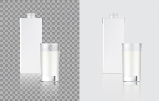 3d-mock-up-box für realistische milchkartons und glas für die verpackung von lebensmitteln und getränken