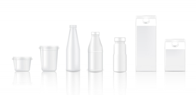 3d-mock-up realistischer flaschenbecher und box für milchverpackungen
