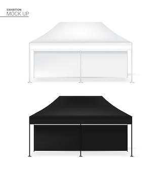 3d modell realistische zelt display wall pop booth exhibition Premium Vektoren