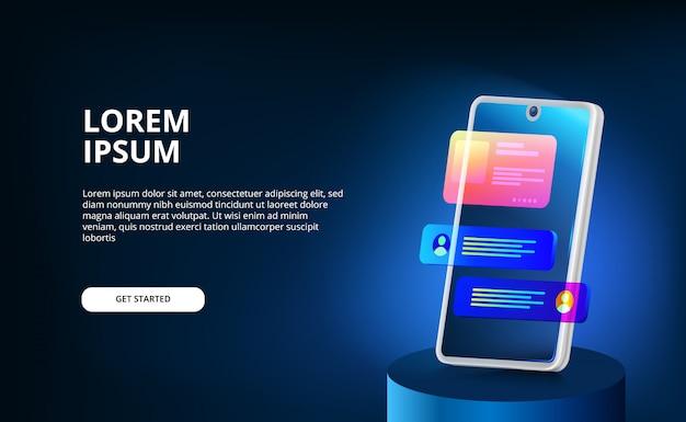3d moderne neonfarbverlaufsanzeigebildschirm-smartphone-ui-entwurfsvorlage für blasen-chat