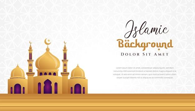 3d-moschee illustration islamisches hintergrunddesign. kann für grußkarten, kulissen oder banner verwendet werden.
