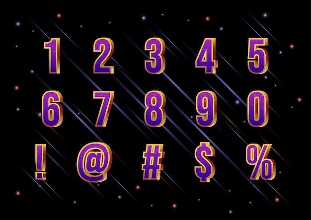 3d movie galaxy space schriftart-nummernsatz